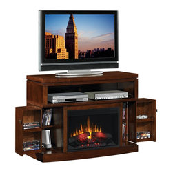Coaster - Mahogany Traditional Fireplace - All wood media console in a mahogany finish, featuring 26? Digital LED electric fireplace insert complete with a 1350 watt/ 4600 BTU forced air heater, digital readout and 9 hour timer, which is capable of heating a 400 square foot room. Media console features multiple storage compartments for DVD?s, cable box and other electronics along with tempered glass, fully functioning doors providing additional storage options. Remote control included.