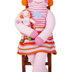 Giant Pumpkin Doll - This huge happy lady is large and soft enough to be not only a friend for your child, but a soft throw pillow as well. Three feet tall, this giant doll adds softness, color, and sweet whimsy to a child's bedroom.
