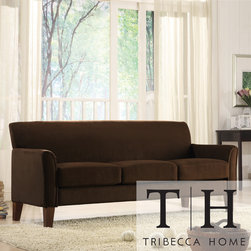 Tribecca Home - TRIBECCA HOME Uptown Mocha Microfiber Suede Modern Sofa - Add a touch of comfort to your living room furniture with this sofaGrace, character and design combine to make this sofa an attractive furniture piecePut your feet up and enjoy a carefree, relaxing afternoon with this sofa