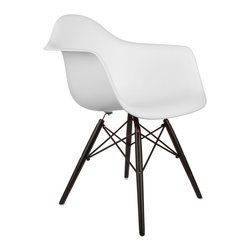 "Noir Arm Chair in White - Some designs were ahead of their time. Considered the chair of tomorrow both for its smooth, modern design and for the innovative design process in which it was first manufactured in a single mold, one of the most iconic mid-century furniture designs was the inspiration for the Noir Arm Chair. Created in the spirit of economy and affordability, its unique shape was designed to spread the sitter's weight and pressure evenly. The deep seat and waterfall edge provide additional comfort as the design shapes itself around the body's curves, while its rich noir-toned wood and steel base adds classic style and stability. If you've done away with formality in your home, the Noir Arm Chair is that one piece of furniture that exemplifies the ""less is more"" ethos. It's the ultimate versatile seat, perfect as a home office chair, as an entryway slipper seat, or as the central statement piece for the living room."