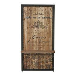 Rustic Grand Vin De Bordeaux Wall Decor With Hooks - *Dimensions: 31.5Hx15.75Wx7L