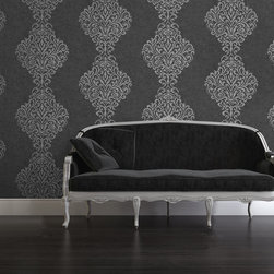Sparkle by Kenneth James - An exquisite black damask wallpaper with very chic metallic foil pixels.