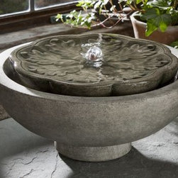 Campania - Flores Cast Stone Tabletop Fountain -