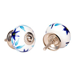 MarktSq - Ceramic Knob (Blue Floral Pattern) - Set of 4 - Charming ceramic knob with flower designs in shades of blue. Ideal for kitchen cabinets, dresser drawers etc. Sold as a set of 4.
