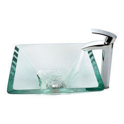 Kraus - Kraus Clear Aquamarine Glass Vessel Sink and Visio Faucet Chrome - *Add a touch of elegance to your bathroom with a glass sink combo from Kraus