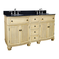 """Hardware Resources - 60"""" Wide MDF Double Vanity  VAN028D-60-T - This 60"""" wide MDF double vanity has simple beadboard doors and curved shape to accent the traditional cottage feel. The buttercream finish with antique crackle is created by hand, making each vanity unique. Two large cabinets, fully functional top drawers fitted around plumbing, and a center bank of drawers, equipped with ball bearing slides, provide ample storage.  This vanity has a 2CM black granite top preassembled with two H8809WH (15"""" x 12"""") bowls, cut for 8"""" faucet spread, and corresponding 2CM x 4"""" tall backsplash.  Overall Measurements: 60-1/2"""" x 23"""" x 35"""" (measurements taken from the widest point) Finish: Painted Buttercream Material: MDF Style: Traditional Coordinating Mirror(s): MIR028, MIR028-48, MIR028D-60 Bowl: H8809WH"""