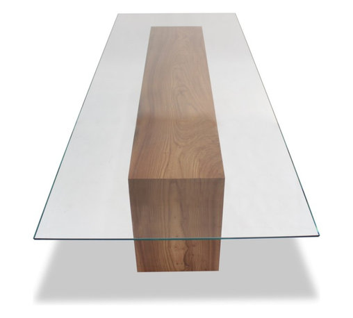 Rotsen Furniture - Glass Top and Solid Wood Dining Table - Add authenticity to your decor with this reclaimed wood dining table. This stately table was constructed from large planks of solid Brazilian Araucária salvaged wood. Unique and handsome, this table features geometric platform legs that will be so pleasing to your eye.