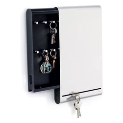 Blomus - Blomus Key Box Magnetic Board - This unique organizer is a message board and locking key organizer all in one piece! The smooth metal front is perfect for hanging notes and business cards using magnets. Simply slide the cover to the side to reveal hidden key storage.  Stainless steel a modern look with modern functions perfect for the home or office! Comes with two keys to lock the safe.  Overall Dimensions: 13.8 H x 8.3 W x 1.4 D.