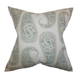 """The Pillow Collection - Amahl Paisley Pillow Blue 18"""" x 18"""" - Play up with your interiors by tossing this artsy accent pillow. This throw pillow features an intricate paisley pattern in blue, yellow and gray. Make your sofa, bed or couch more relaxing by tossing this square pillow. This 18"""" pillow is made from a blend of 67% rayon and 33% polyester material."""