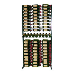 288 Bottle Island Display Wine Rack Package - An all-in-one wine storage system focused on total wall utilization. Suited for retail displays that present labels for hands-free identification of bottles. Steel resists wear and allows for easy cleaning. Package includes six WS32 racks on top, six WS33 racks on the bottom, and a presentation row in the middle.