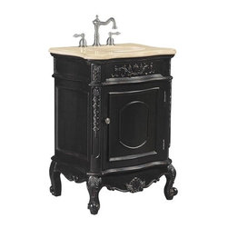 Belle Foret - Belle Foret 80050R Petite Single Basin Vanity in Hand Rubbed Black - Belle Foret 80050R Petite Single Basin Vanity in Hand Rubbed BlackDistinctively elegant faucets, sinks, bath furniture, and lighting graced by the rich patina of time, without the wait or expense. Discover the Belle Foret Collection - a voyage well worth taking.This petite single basin vanity has the look of authentic antique furniture yet it's available at a great price. Featuring a single functional door that hides a spacious storage compartment. The white undermount porcelain basin is included as well.Please see our Delivery Notes for Freight Shipments for products that are oversized and/or are too heavy to ship UPS ground.Belle Foret 80050R Petite Single Basin Vanity in Hand Rubbed Black, Features:• Petite Single Basin Vanity