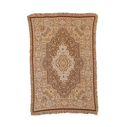 Renovators Supply - Throws Beige Cotton Victorian Throw 45'' W x 67'' L - Victorian throw with a medallion design has a three layer weave.  It is 100% cotton.  It measures 45 in. wide x 67 in. long.
