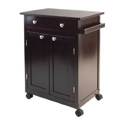 Winsome Trading, INC. - Winsome Savannah Kitchen Cart - Savannah Kitchen cart has one large drawer, double doors opens to a cabinet with one fix slated shelf and bottom shelf for storage also include a handle. Accent with metal knobs. Perfect extra working space in your kitchen. Drawer inside dimension is 19.29W x 13.31D x 3.23H. Slated middle shelf is 22.52W x 12.91D. Kitchen Cart Top is 25.98W x 17.32D. Easy to move around with four casters. Cart is made with combination of solid and composite wood. Assembly Required.