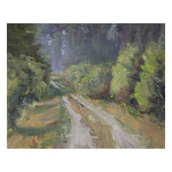 """Tree Lined Road, Original, Painting - """"Plein-air painting of my driveway in summer. 8x10"""""""" oil on canvas panel."""""""