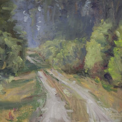 """""""Tree Lined Road, Painting"""" - """"Plein-air painting of my driveway in summer. 8x10"""""""" oil on canvas panel."""""""
