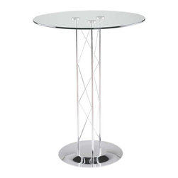 Eurostyle - Eurostyle Trave-B 36 Inch Round Glass Bar Table in Chrome - 36 Inch Round Glass Bar Table in Chrome belongs to Trave Collection by Eurostyle Clear glass top and industrial strength base make Trave the first name in lasting style. The statement is crisp lines and clear strength. Sitting or standing room only! Table Base (1), Table Column (1), Table Top (1)