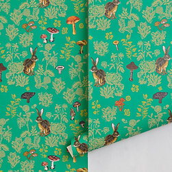 Nathalie Lete - Mushroom Forest Wallpaper - This wallpaper is full of color and life would look amazing covering an entire room, like the bathroom, for a bold punch.