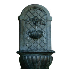 Venetian Outdoor Solar Wall Fountain, Lead
