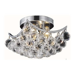 Elegant Lighting - 9800 Corona Collection Chrome Finish Swarovski Spectra Crystals Flush Mount - Bubbling ball crystals from the Corona Collection creates a sea of sparkling drops.  Whether used in an entry hall, a dining room or in a powder room, Corona fills a space with drama and creativity.