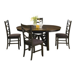 Liberty Furniture - Liberty Furniture Bistro II 5 Piece 66x48 Oval Pedestal Dining Room Set - Intersecting X-designs, upholstered chair seats, and butterfly leaves make the Bistro dining collection a well-rounded set made with style, comfort, and functionality in mind. Bring a complete set or mix and match pieces from each finish to bring the dynamic style of this set to your dining space. Made of walnut and rubberwood solids, the pieces from this dining group are made to last. Timeless style and a casual spin on modern design make this group the perfect fit for your home. What's included: Dining Table (1), Side Chair (4).