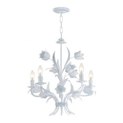 Crystorama - Crystorama Southport 1 Tier Chandelier in Wet White - Shown in picture: Southport Handpainted Wrought Iron Chandelier; Southport collection is handpainted with Wet White wrought iron frame. These soft colors match well with the whimsical wrought iron floral.