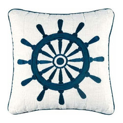 C & F Enterprises, Inc. - Nantucket Dream 14 x 14 Ship Wheel Quilt Pillow - -Cover: 55% Linen 45% Cotton Exclusive of Decoration  -Spot Clean Only. C & F Enterprises, Inc. - 89193.1414C