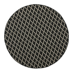 """Safavieh - Indoor/Outdoor Courtyard Round 5'3"""" Round Black - Beige Area Rug - The Courtyard area rug Collection offers an affordable assortment of Indoor/Outdoor stylings. Courtyard features a blend of natural Black - Beige color. Machine Made of Polypropylene the Courtyard Collection is an intriguing compliment to any decor."""