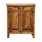 Sol Vanity - Our Sol Vanity is sure to add charm and character to any bathroom. It is 100% hand crafted by skilled Mexican artisans and lightly sanded and finished to preserve the rich character of the pine. It is accented with rustic wooden hinges used to hold the cabinet doors in place which makes this a true rustic piece.