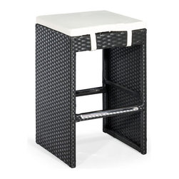 ZUO - Marrakesh Counter Stool - Claiming the merest whiff of the exotic, the Marrakesh Single Bench Counter Height adds mystery to your kitchen. Boasts espresso colored weave over a steel frame offset by a white cushion. Hook your heels on the footrest and dig into eggs benedict.