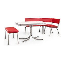 Coaster Fine Furniture Retro Chrome Corner Nook Dining Set, Red Vinyl - For a retro diner look, check out this set featuring red cushioned chair benches and a metal-rimmed table.