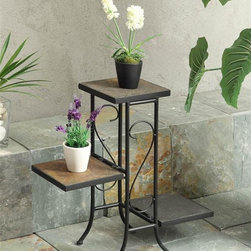 "4D Concepts - 3 Tier Plant Stand w Slate Top - Crafted slate top and metal plant stand. Metal is finished in a rich powder coated black. Nicely sculpted metal frame adds to the beauty of this unit. 3 fold down slate shelves are perfect for holding any of your favorite plants. 4"" Square Slate Sleeves. Flared legs at the bottom adds to the elegance of this unit. Constructed of metal and stone. Clean with a dry non abrasive cloth. Some assembly required. 25.6 in. W x 10.2 in. D x 22.4 in. HWhat a wonderfully crafted slate top and metal plant stand that is perfect for any kitchen, nook, or patio in the home."