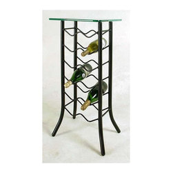 Grace Collection - 12 Bottle Wine Rack w Glass Table Top (Satin - Finish: Satin BlackWith a glass top and 12 bottle storage capacity this handsome wine rack would not look out of place in any bar or restaurant!  Let this clever piece display your vintages to your guest or perhaps even let them choose directly from the rack, either way this addition to your premises will be certain make a striking talking point amongst your customers!  Wander from Santa Clara to Priorat  to Sauternes to Douru without leaving your calm, sipping space with your beautifully crafted 12 Bottle Iron glass top wine rack, a mesmerizing room adornment that will accentuate your room's décor.  The square glass tabletop accents this contemporary wine rack beautifully.  You'll want more than one of these beautiful wine rack tables to show off your collection in your home. * Wrought iron construction. 15 in. square glass table top. Many  metal finish options available. 15W x 15D x 34H in.. Weight: 31 lbs.