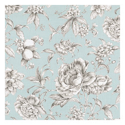 Light Blue Floral Toile Sateen Fabric - Beautiful sky blue & gray toile floral cotton sateen. Modern or traditional? You be the judge.Recover your chair. Upholster a wall. Create a framed piece of art. Sew your own home accent. Whatever your decorating project, Loom's gorgeous, designer fabrics by the yard are up to the challenge!