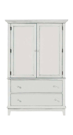 American Drew - American Drew Sterling Pointe Door Chest in White - White with Cherry Top - Sterling Pointe, from American Drew, is a collection of bedroom furniture with simple lines, but spectacular possibilities. Sterling Pointe is a versatile group that can easily capture any lifestyle and work in any setting. The collection can go from urban chic to country cottage, from transitional to coastal, and all personal styles in between! Sterling Pointe is offered in four popular colors; Black, white, cherry and maple. All case pieces come with matching color hardware and polished chrome finish hardware for even more personalization. In addition, the black and White colored case pieces have the option to customize the tops in either Cherry or Maple colors. When you choose this option, you get hardware in the matching case color, matching top color and polished chrome finish. The three bed styles are offered in multiple sizes to fit any room and setting. This is the perfect collection for that condo or town home, second bedroom or second home. Sterling Pointe has a timeless appeal that can adapt and last a lifetime. Sterling Pointe will capture the essence of your personal style.