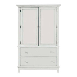 American Drew - American Drew Sterling Pointe Door Chest in White - White with Cherry Top - Sterling Pointe, from American Drew, is a collection of bedroom furniture with simple lines, but spectacular possibilities. Sterling Pointe is a versatile group that can easily capture any lifestyle and work in any setting. The collection can go from urban chic to country cottage, from transitional to coastal, and all personal styles in between! Sterling Pointe is offered in four popular colors; Black, White, Cherry and Maple. All case pieces come with matching color hardware and polished chrome finish hardware for even more personalization. In addition, the Black and White colored case pieces have the option to customize the tops in either Cherry or Maple colors. When you choose this option, you get hardware in the matching case color, matching top color and polished chrome finish. The three bed styles are offered in multiple sizes to fit any room and setting.This is the perfect collection for that condo or town home, second bedroom or second home. Sterling Pointe has a timeless appeal that can adapt and last a lifetime. Sterling Pointe will capture the essence of your personal style.