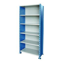 Hallowell - H-Post High Capacity Steel Starter Unit w 6 Shelves (36 W x 24 D x 87 H (257.1 l - Size: 36 W x 24 D x 87 H (257.1 lbs.). Six adjustable shelves. Side and back sway braces. Closed style. Standard foot plate for strong and rigid anchor point. GREENGUARD Children and School certified. Warranty: One year. Made from rolled steel. Platinum and marine blue color. Made in USA. Assembly required. Shelving with 900 lb. shelf capacity:. 48 in. W x 18 in. D x 87 in. H (262.4 lbs.). 48 in. W x 18 in. D x 123 in. H (327 lbs.). 48 in. W x 24 in. D x 87 in. H (302.6 lbs.). 48 in. W x 24 in. D x 123 in. H (375.2 lbs.). Shelving with 1200 lb. shelf capacity:. 36 in. W x 18 in. D x 87 in. H (222.3 lbs.). 36 in. W x 18 in. D x 123 in. H (281.1 lbs.). Shelving with 1250 lb. shelf capacity:. 36 in. W x 24 in. D x 87 in. H (257.1 lbs.). 36 in. W x 24 in. D x 123 in. H (323.9 lbs.)Hallowell high capacity H-post shelving is ideal when additional post strength is required and is recommended for multi-level high-rise applications. Available in open and closed styles with heavy and extra heavy-duty shelves.