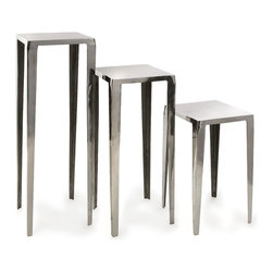 Contemporary  Aluminum Tables Set of 3 - *Contemporary elegance creates the foundation of design in this set of three tables.