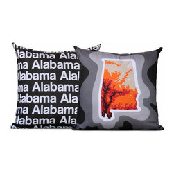 "Cartoloji - Alabama Map Pillow, Charcoal - The pillow features a topographical map of the state on the front and the state name text on the reverse. Pillow cover is made from 100%  certified organic cotton sateen and is printed with eco-friendly inks. Pillow insert is a non-allergenic faux-down poly-fill. Pillow dimensions: 17"" x 17"". Hand wash or dry clean. Made in the USA. Listing is for 1 double sided pillow."