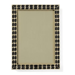 Z Gallerie - Patricia Frame - Bejeweled and lustrous, our black Patricia Frame houses your most cherished memories with an air of glamour. Embedded faceted crystals line the middle of the frame flanked by gold foil and black enamel in this adorned frame. Designed delicate enough to be arranged in a group of complementary accessories, and stately enough to stand alone as a stunning decorative frame. Complete the look with the Patricia Frame.