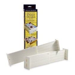 Dial Industries - Dream Drawer Expandable Spring Loaded Drawer Dividers (Set of 2) - Adjustable dividers stay in place thanks to spring tension. Place front to back or side to side to divide your drawers and keep things organized.