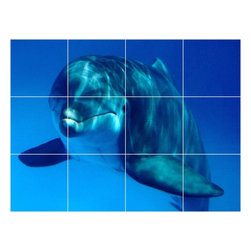 Picture-Tiles, LLC - Dolphin Picture Kitchen Bathroom Ceramic Tile Mural  12.75 x 17 - * Dolphin Picture Kitchen Bathroom Ceramic Tile Mural 1472