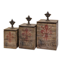 iMax - Fleur De Lis Paris Boxes, Set of 3 - Featuring red Fleur-De-Lis focal points and elegant metal finial handles, this set of three Paris themed wood boxes are great for a visually compelling small storage solution.