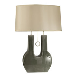 Nova - Ceramic Table Lamp - Bulb not included. Requires one 100 watt E27 medium base incandescent type bulb. Bulb voltage: 120. Contemporary style. Switch location: Socket. Single pull chain switch type. Clear cord color. Oval shade shape. White Linen shade. Gray color. No assembly required. Shade top: 9 in. L x 16 in. H. Shade bottom: 10 in. W x 17 in. H. Shade vertical height: 10 in.. Overall: 10 in. L x 17 in. W x 27 in. H (9.5 lbs.)