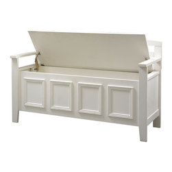 Linon - Laredo Storage Bench - Create added seating and storage to any space in your home. Some Assembly Required. White Finish. 46 in. W x 17 in. D x 25 in. H (44.53 lbs)Create added seating and storage to your foyer or mudroom with this attractive and functional Laredo Storage Bench. The bench features a flip top lid, allowing the user to easily retrieve articles from the storage compartment. The ladder designed back and decorative front are enhanced by the white finish. A stylish and functional addition to any home.