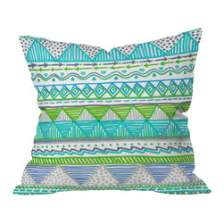 DENY Designs - Lisa Argyropoulos Ocean T 1 Throw Pillow, 26x26x7 - Bright geometric patterns and squiggly lines map out the flow of the ocean tides in tropical marine colors. For a fresh, sea-breezy look, toss this printed throw pillow onto a white or wicker chair. Then commence margarita sipping.