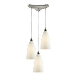 ELK Lighting - Three Light Satin Nickel White Glass Multi Light Pendant - Three Light Satin Nickel White Glass Multi Light Pendant
