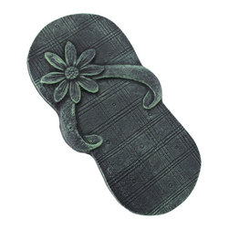 Zeckos - Pair of Cast Iron Flip Flop Stepping Stones Verdigris Finish - This pair of flip flop sandal stepping stones is designed to give your garden path a unique and delightful look. Made from cast iron, each flip-flop measures 12 1/4 inches (31 cm) long and 6 1/2 inches (17 cm) wide. They have an antiqued verdigris enamel finish that gives them an aged look. They make a great housewarming gift, and are perfect to add to new landscaping projects.