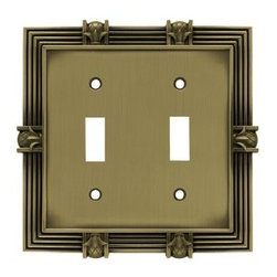 Liberty Hardware - Liberty Hardware W102ZMC-SBA-U Pineapple WP Collection 5.2 Inch Switch Plate - The Liberty 2-Gang Antique Brass Double-Toggle Wall Plate comes with fasteners to ensure an easy installation. This decorative wall plate's pineapple design is sure to bring elegance to almost any room. Width - 5.2 Inch, Height - 5.1 Inch, Projection - 0.2 Inch, Finish - Antique Brass, Weight - 0.55 Lbs.