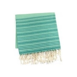 """Assorted Foutas, Emerald - You can use this large, 100% cotton fouta towel as a cover-up, blanket, shawl or throw. Handwoven by artistans and traditionally referred to as a """"hammam"""" towel, this versatile towel gets softer and more absorbent the more you wash it. Wash cold, delicate cycle, and tumble dry."""