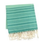 "Assorted Foutas, Emerald - This generously sized fouta towel made of 100% natural cotton can be used as a cover-up, blanket, shawl or throw. Artisanal hand woven, traditionally referred to as a ""Hammam"" towel. The more you wash it the softer and more absorbent it becomes. Measures 37"" X 78"". Wash cold in delicates with a low tumble dry."